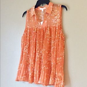 🆕 LC Lauren Conrad Sleeveless Orange Floral Top